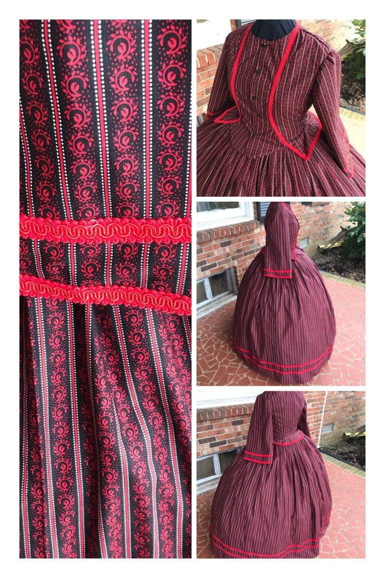 Black & Red Reproduction Print Civil War Dress**2 sizes