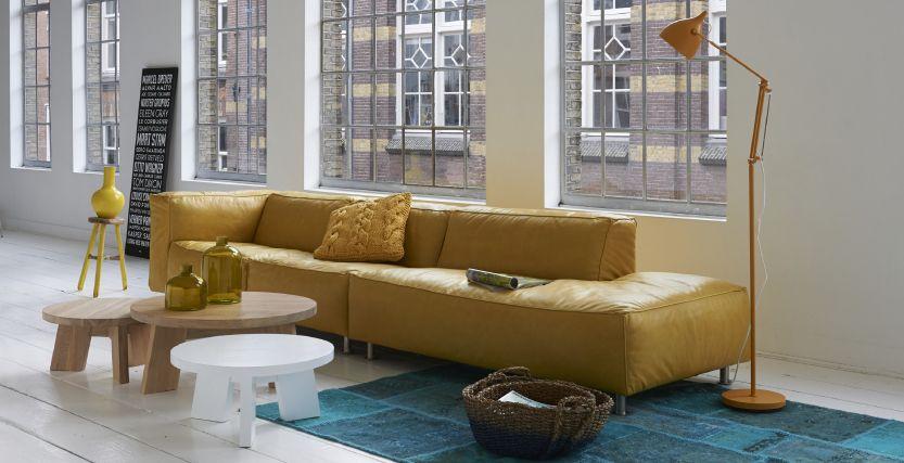 Mooie Leren Bank.Mooie Leren Bank Mooie Kleuren Combi Modern Eigentijds Thuis