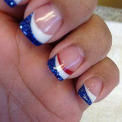 French Nails Red White And Blue Google Search French Nail Designs Red Nails American Manicure Nails