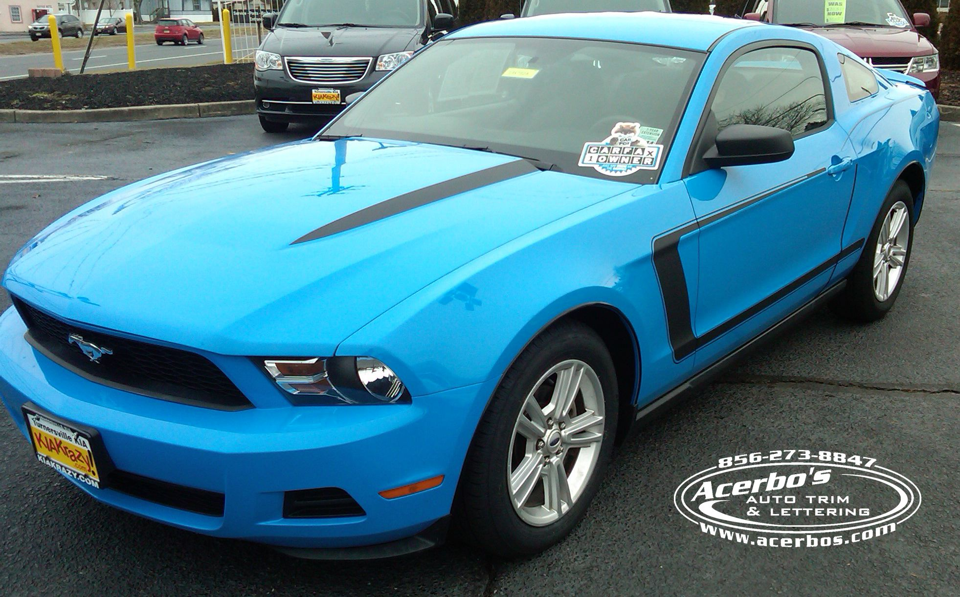 Baby Blue Ford Mustang With A Custom Stripe Package