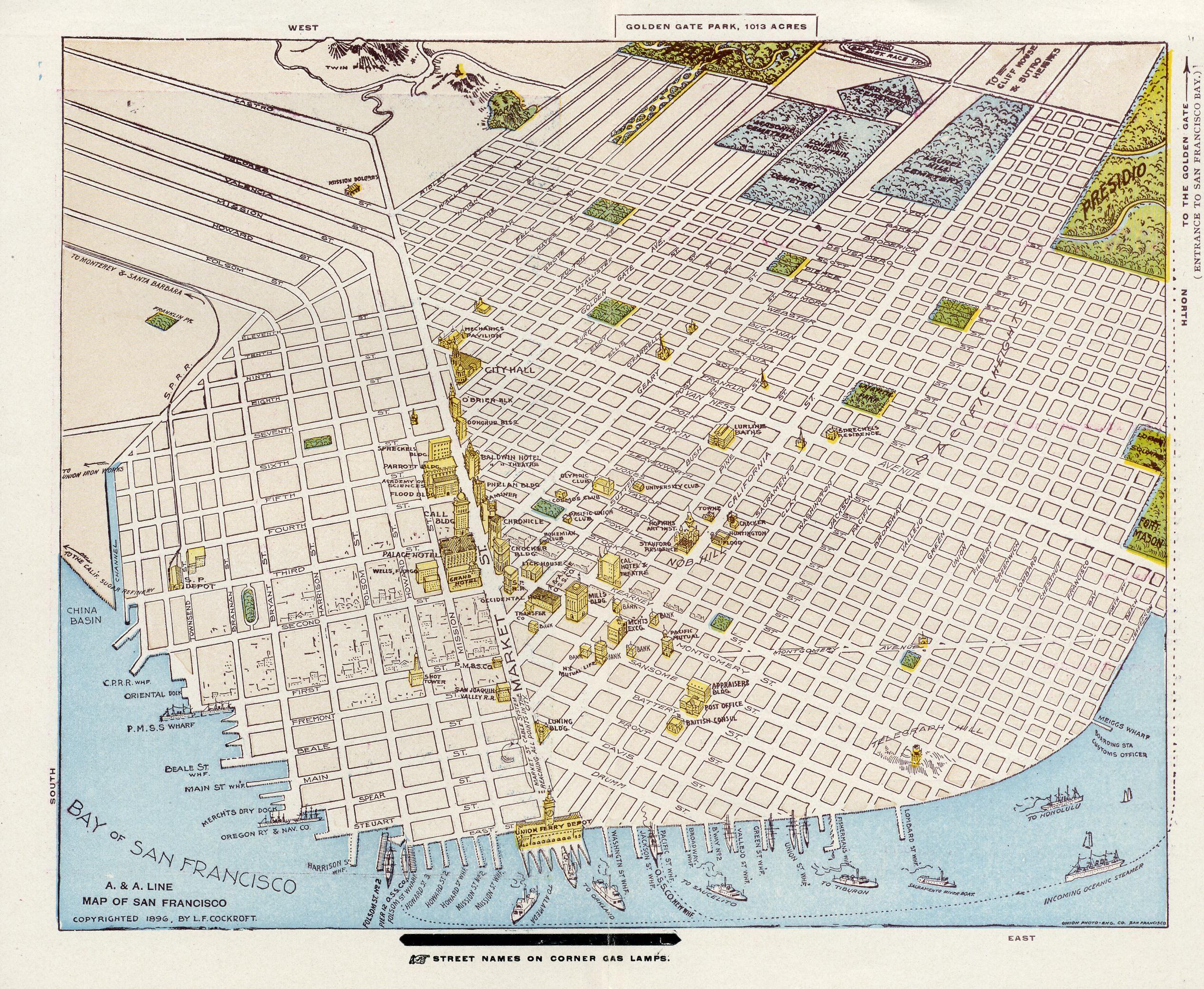 1896 A color birdseye view of San Francisco via Golden Nugget