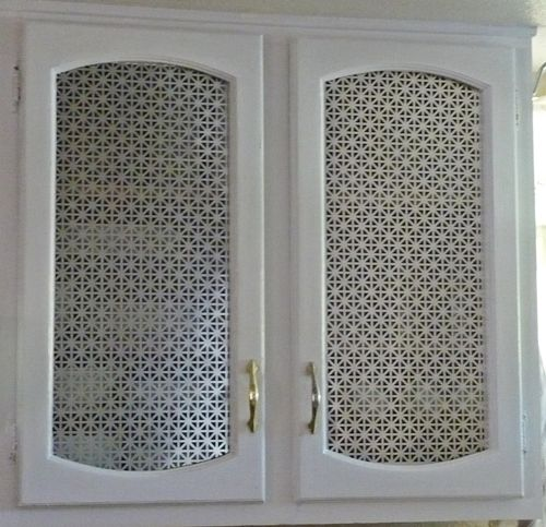 metal grill inserts and white paint - kitchen cabinet upgrade! (new