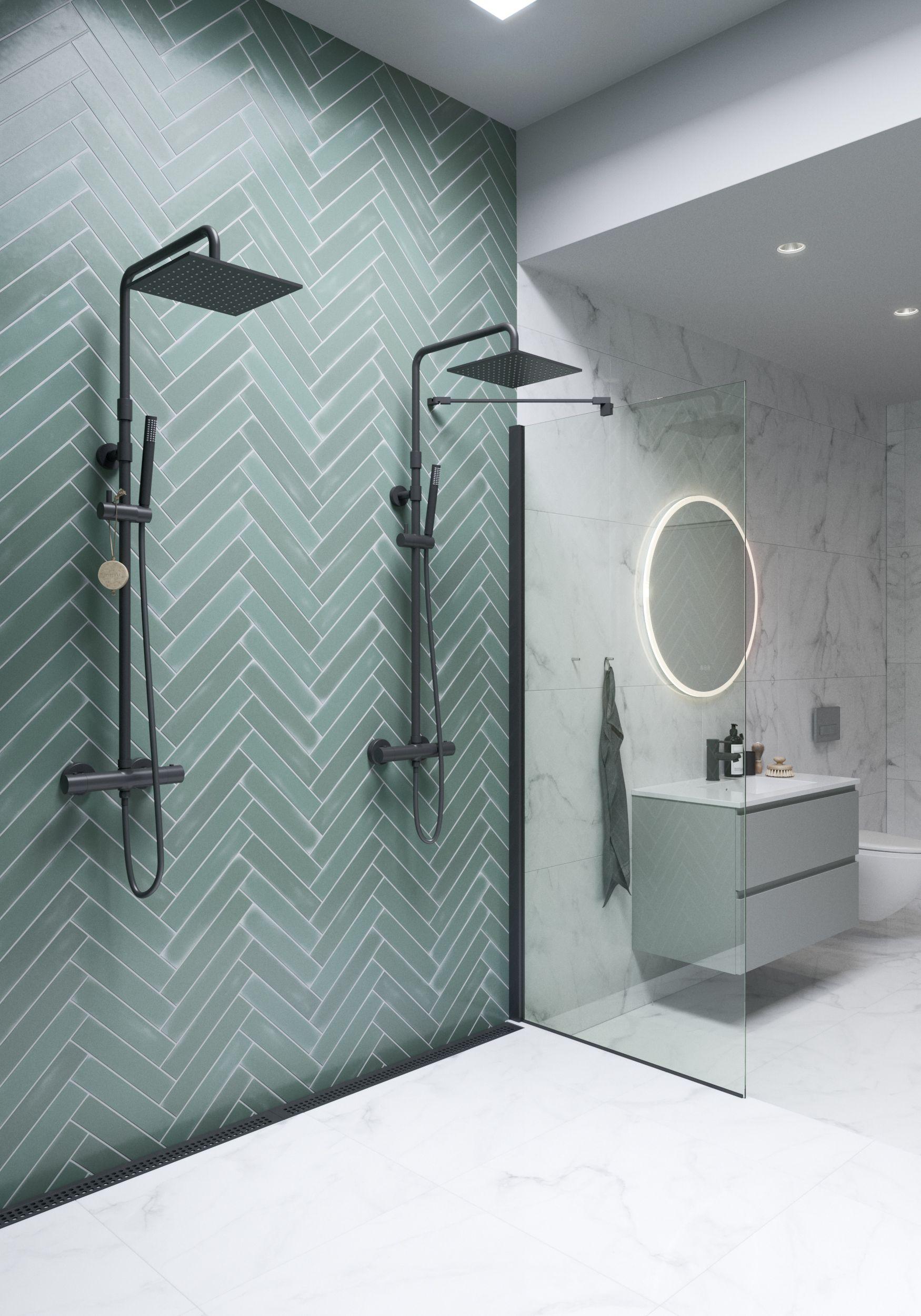 Double Shower Green Herringbone Tile Pattern Bathroom Interior Design Bathroom Remodel Shower Bathroom Style Newest small bathroom herringbone