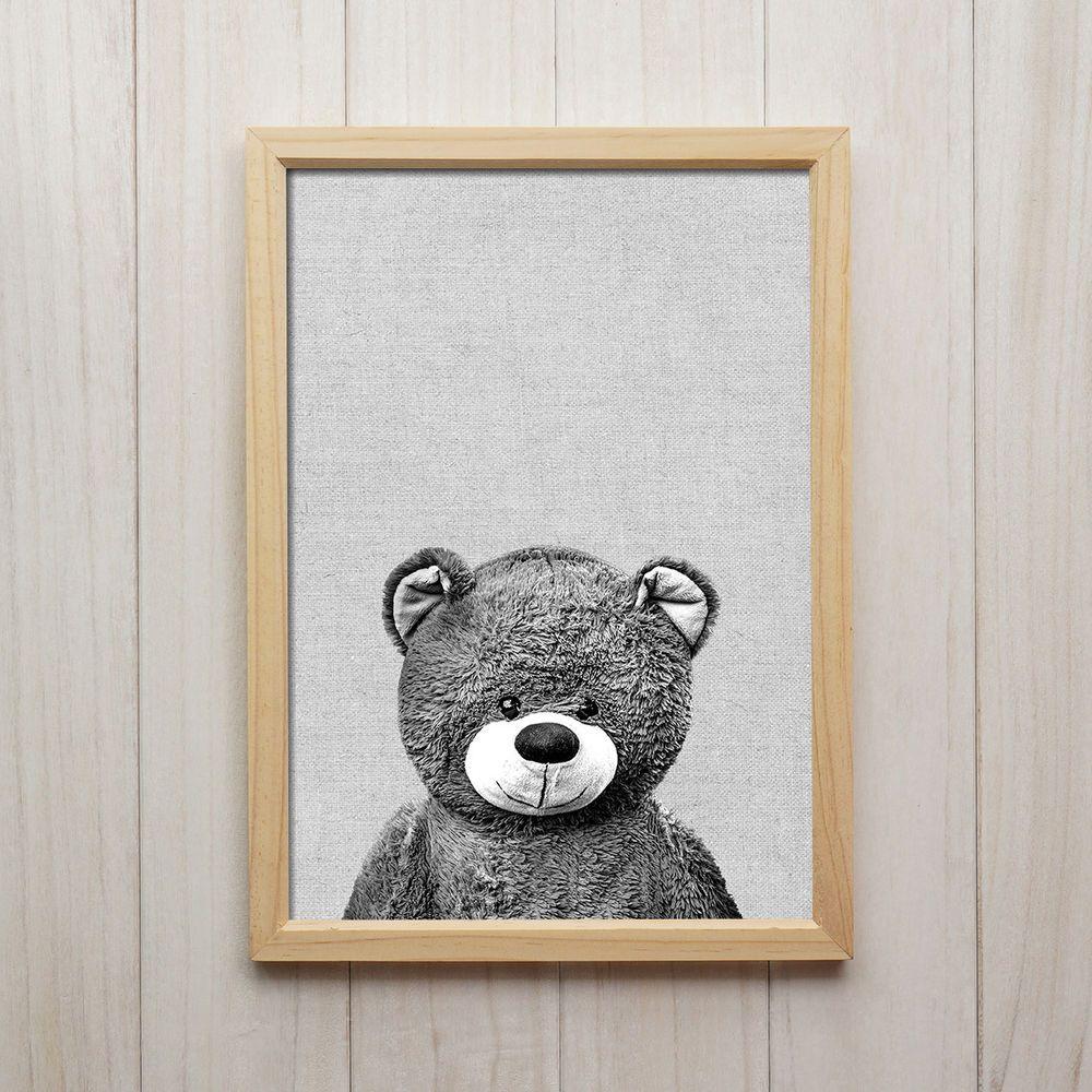 Details zu Teddybär Schwarz Weiß Kunstdruck A4 Kuscheltier