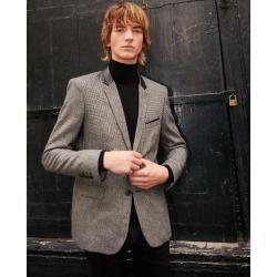The Kooples - Bedruckte elegante Jacke mit Lederkragen - Damenthekooples.com #womenvest