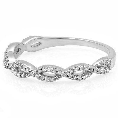 020 Carat ctw Round Diamond Ladies Swirl Anniversary Wedding Band