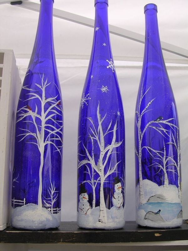 Painted Wine Bottles by hope54