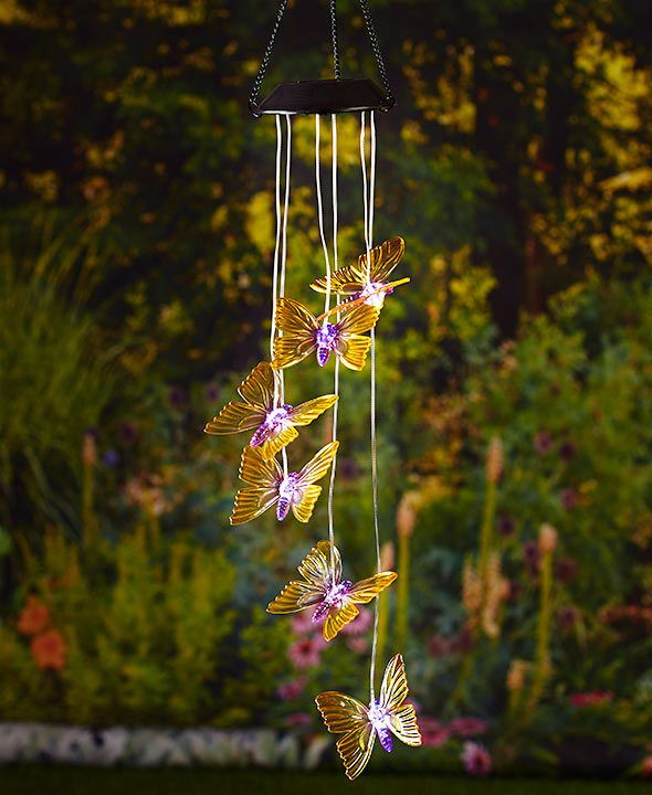 Butterfly Solar Lighted Mobiles Wind Chime Hang On Tree Porch Deck Or Patio