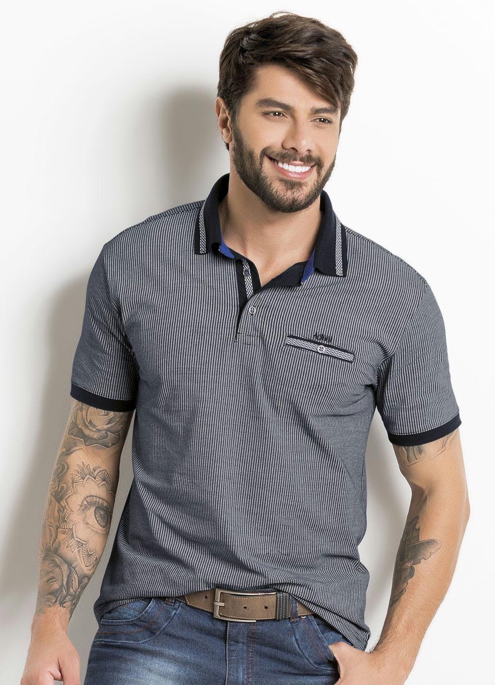 453a4a3cc8 Camisa Polo Estampada com Detalhe Bolso e Gola - Actual