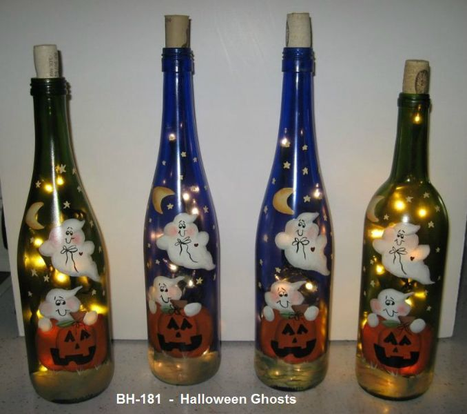 How To Decorate Wine Bottles For Halloween Jacko Lantern Lighted Wine Bottleeverythingpainted On Etsy