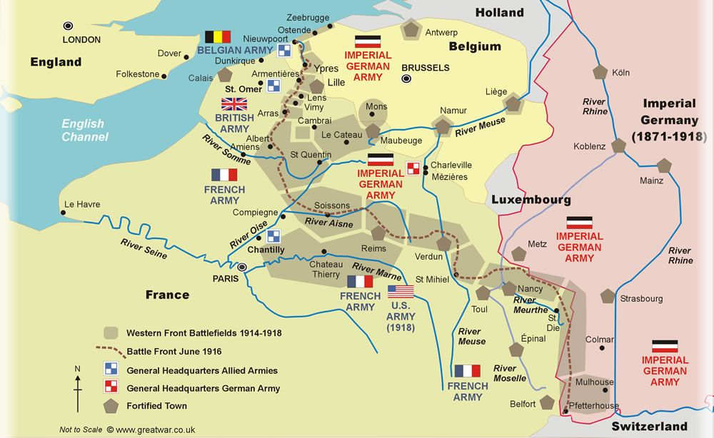 map of the western front showing ww1 battlefield locations in belgium and france