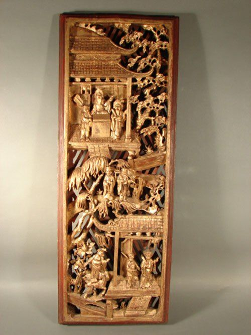 1703 Chinese Carved Gilded Wood Wall Plaque Panel