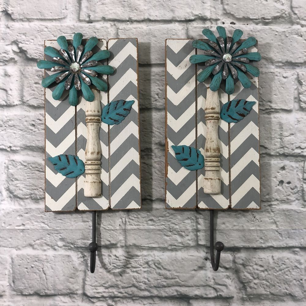 2 Wood Chevron Metal Flower Turquoise Gray Wall Art Hook Decor Hobby Lobby Hobbylobby Chevronprint Grey Wall Art Metal Flowers Wall Art