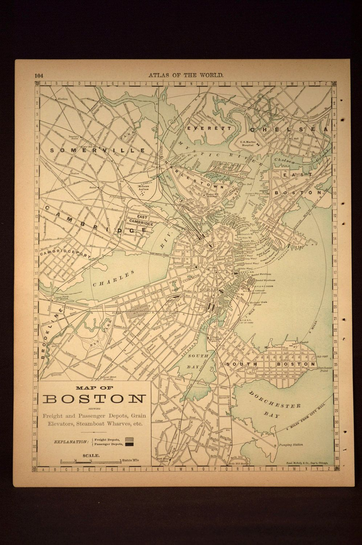 Rare Antique Boston Map Boston Street Map Original Wall Art ...
