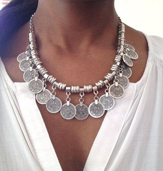 Silver Coin Necklace Gypsy Boho Turkish Coin por AceVintage2012