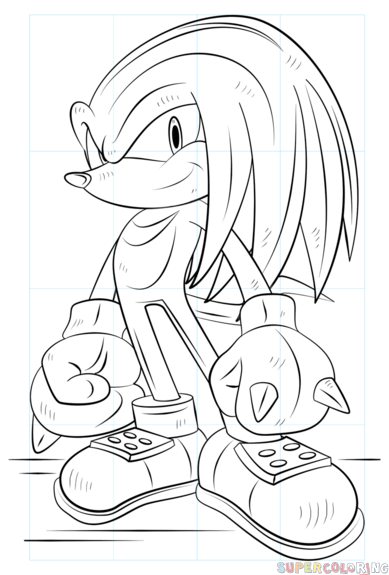How To Draw Knuckles The Echidna Step By Step Drawing Tutorials For Kids And Beginners Superhero Coloring Pages Cartoon Coloring Pages Superhero Coloring