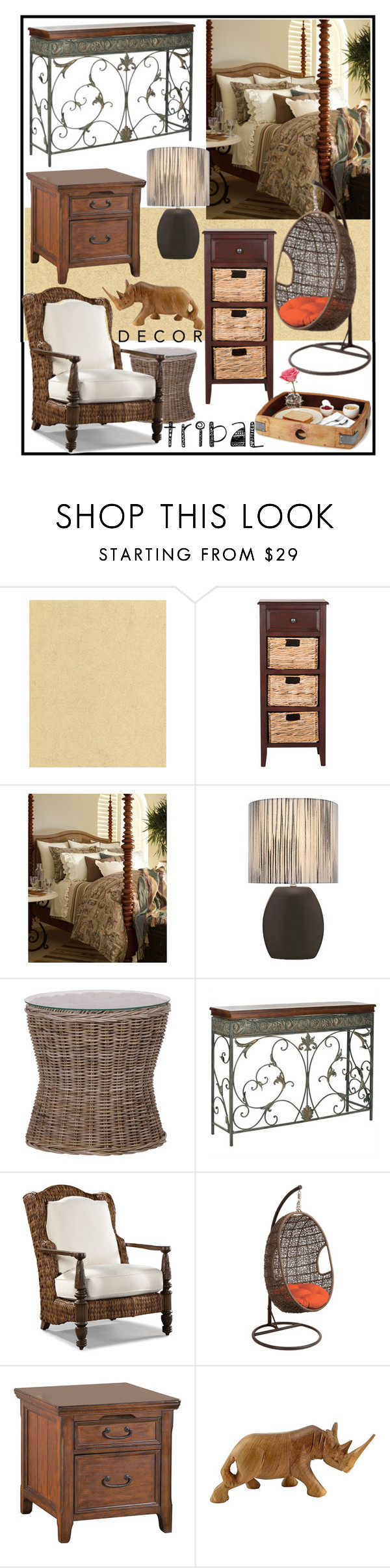 """""""TRIBAL DECOR: OUT OF AFRICA!!!!"""" by kskafida ❤ liked on Polyvore featuring interior, interiors, interior design, home, home decor, interior decorating, Graham & Brown, Safavieh, Ralph Lauren and Lite Source"""