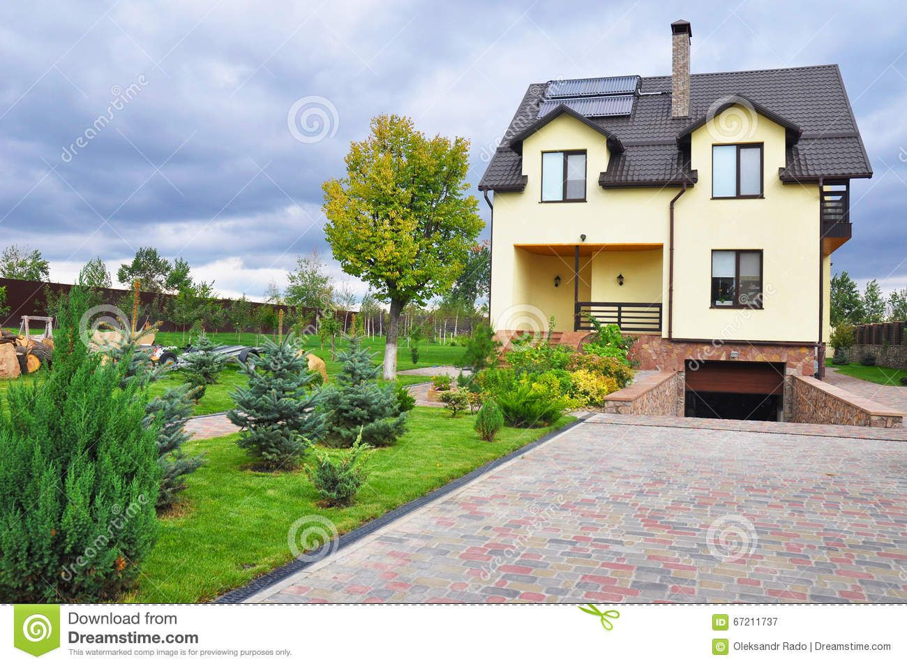 Energy Efficiency New Passive House Building Concept Exterior Cozy House With Solar Water Panel Heating Dormers Solar Panels Stock Photo Image 67211737