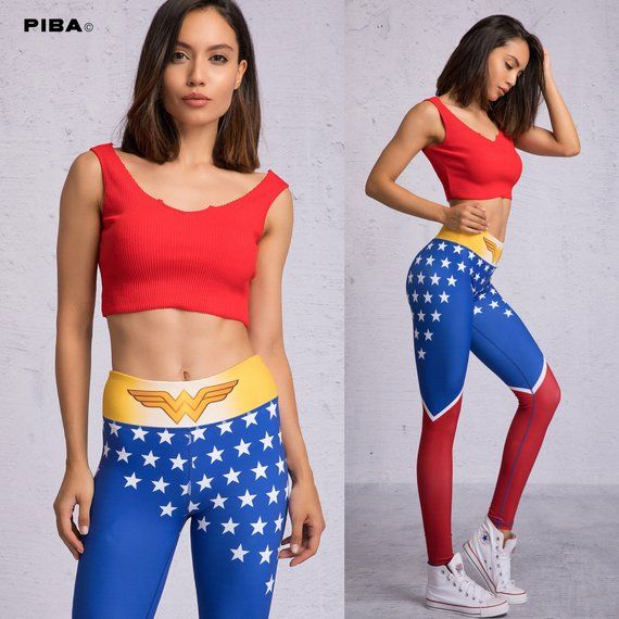 70a41b89ca260 Wonder Woman Workout Leggings - Yoga Pants High Waist Leggings Woman, Adult  Superhero Costume Women,