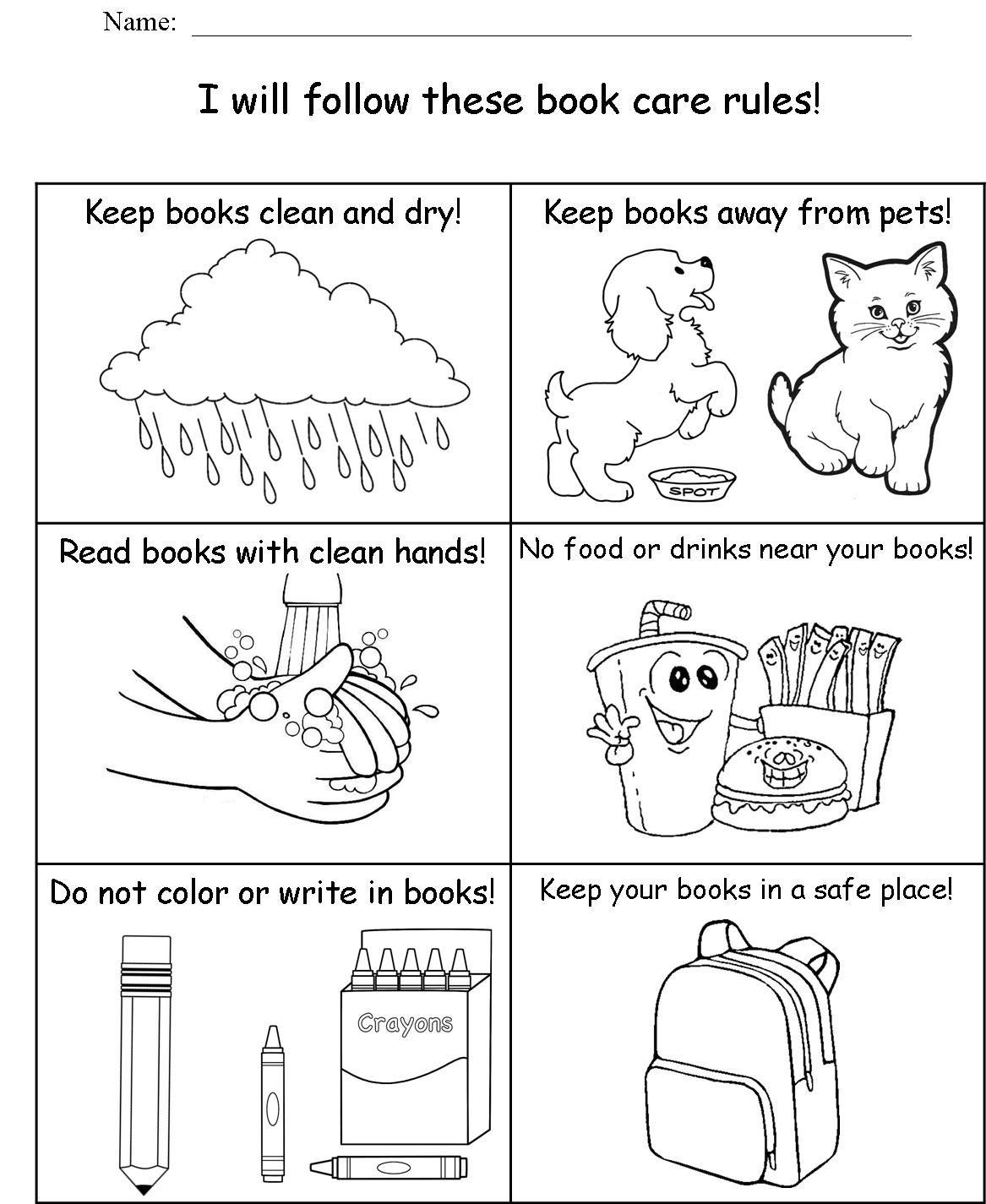 Rilink Schools Edgewood Highland School Library Kindergarten Book Care School Worksheets Kindergarten Worksheets Printable [ 1425 x 1167 Pixel ]