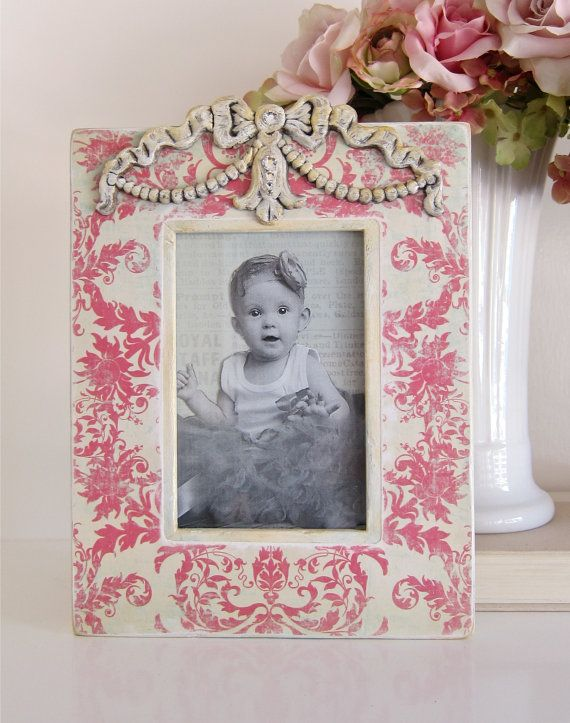 Photo Frame Shabby Damask Pink Wood Bow Molding by HannahBowBanna