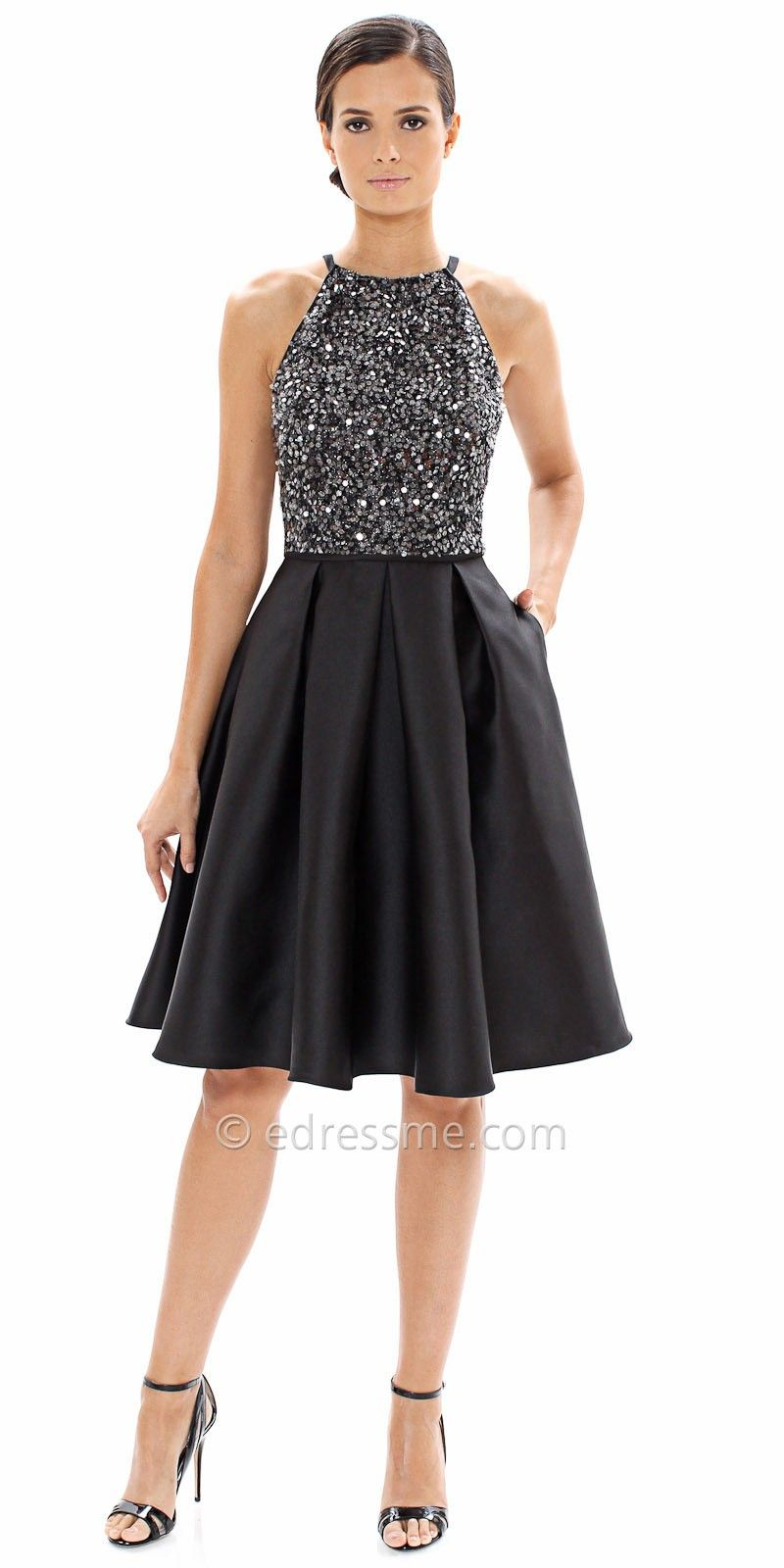 Cutaway Sequin Halter Fit and Flare Cocktail Dress By Carmen Marc ...
