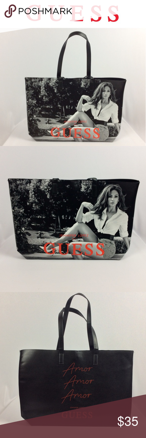 GUESS | JLO TOTE BAG NWOT Jennifer Lopez Guess exclusive 'Amor' tote bag Perfect for carry all, beach tote, book bag, laptop bag, etc Middle snap  Black, with black and white picture of Jlo  Red writing Faux leather material  Approximately 19 X 12.5 inches inches Please feel free to ask any questions you may have. Thank you! Guess Bags Totes