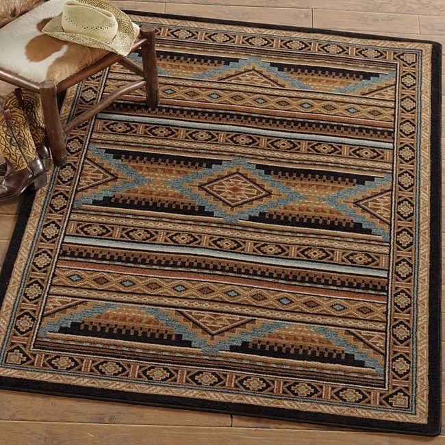 Southwest Rugs Whiskey River Turquoise Rug Collection: A Western Rustic Home
