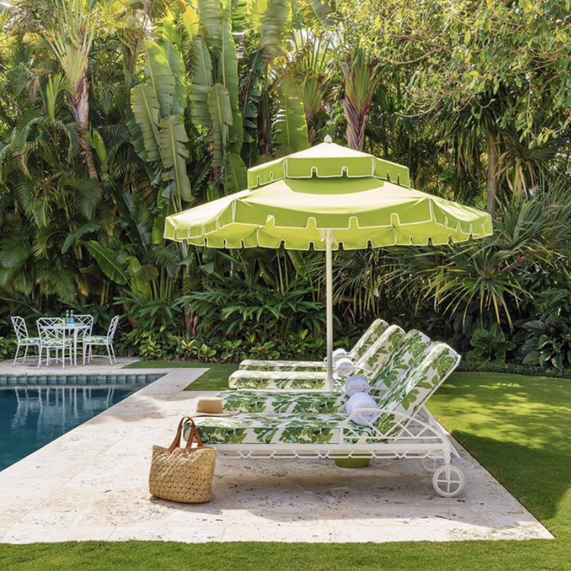 The Grass Is Always Greener With Our Calcutta Collection In This Poolside Scene By Mccann Design Outdoor Patio Umbrellas Outdoor Shade Beautiful Outdoor Spaces