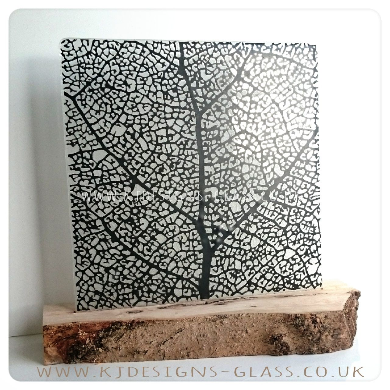 Leaf skeleton art glass wood