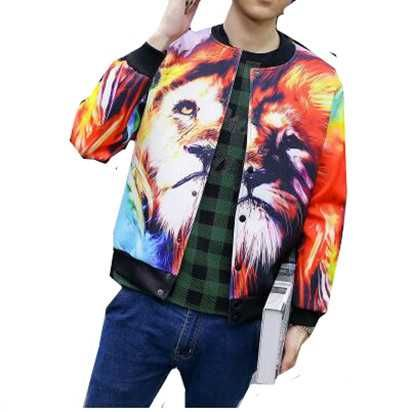 fb31f30f9510 Colorful lion bomber jacket for teens 3d animal baseball jackets plus size