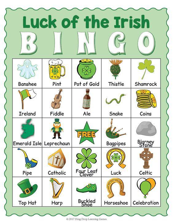 Peaceful image throughout st patrick's day bingo printable