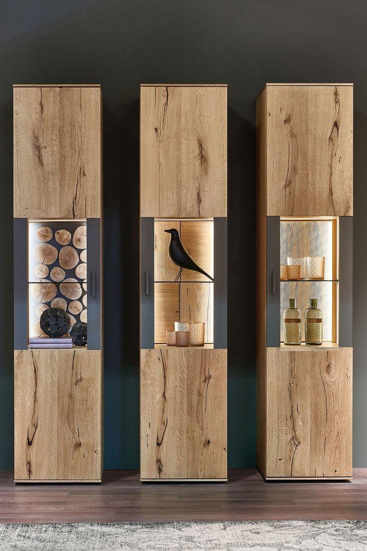 Tv Showcase Design Ideas For Living Room Decor 15524: Maronese ACF Vitrine Cortina Asteiche Mit Rückwand Äste