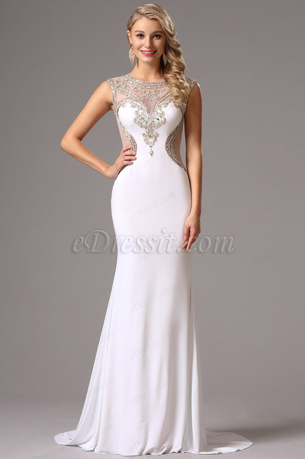 Beaded Sweetheart Neck White Prom Gown Formal Dress