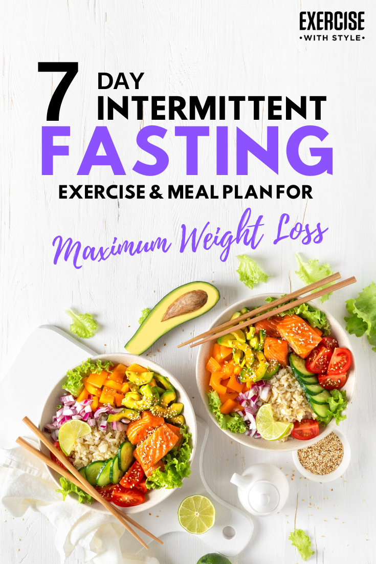 7 Day Intermittent Fasting schedule, meal plan ideas and exercise routine to follow and remove any c...