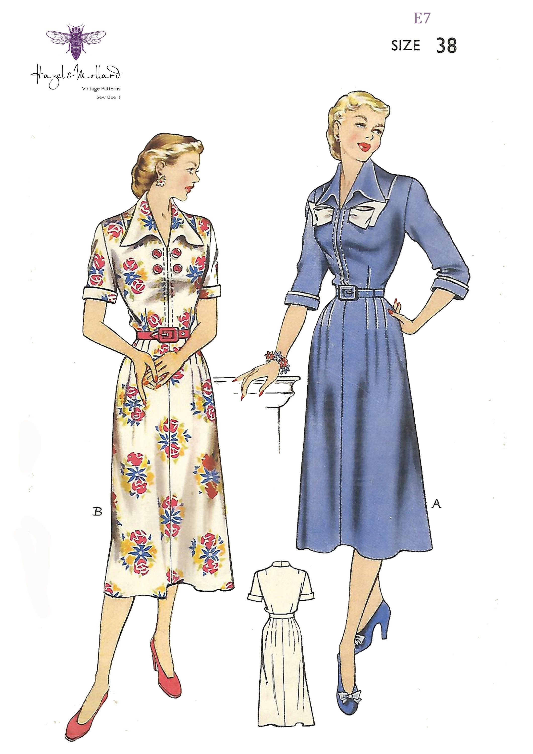 1940 S Vintage Sewing Pattern Pretty Dress With Button Or Etsy Dress Making Patterns Pretty Dresses Pattern Fashion