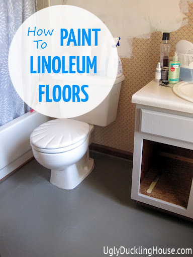 Bathroom Floor Paint : Painted vinyl linoleum floors
