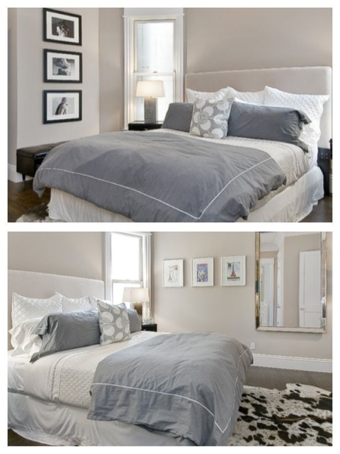 Nice paint; Benjamin Moore - Grege Avenue walls & Accent (headboard) wall is Hampshire Taupe.