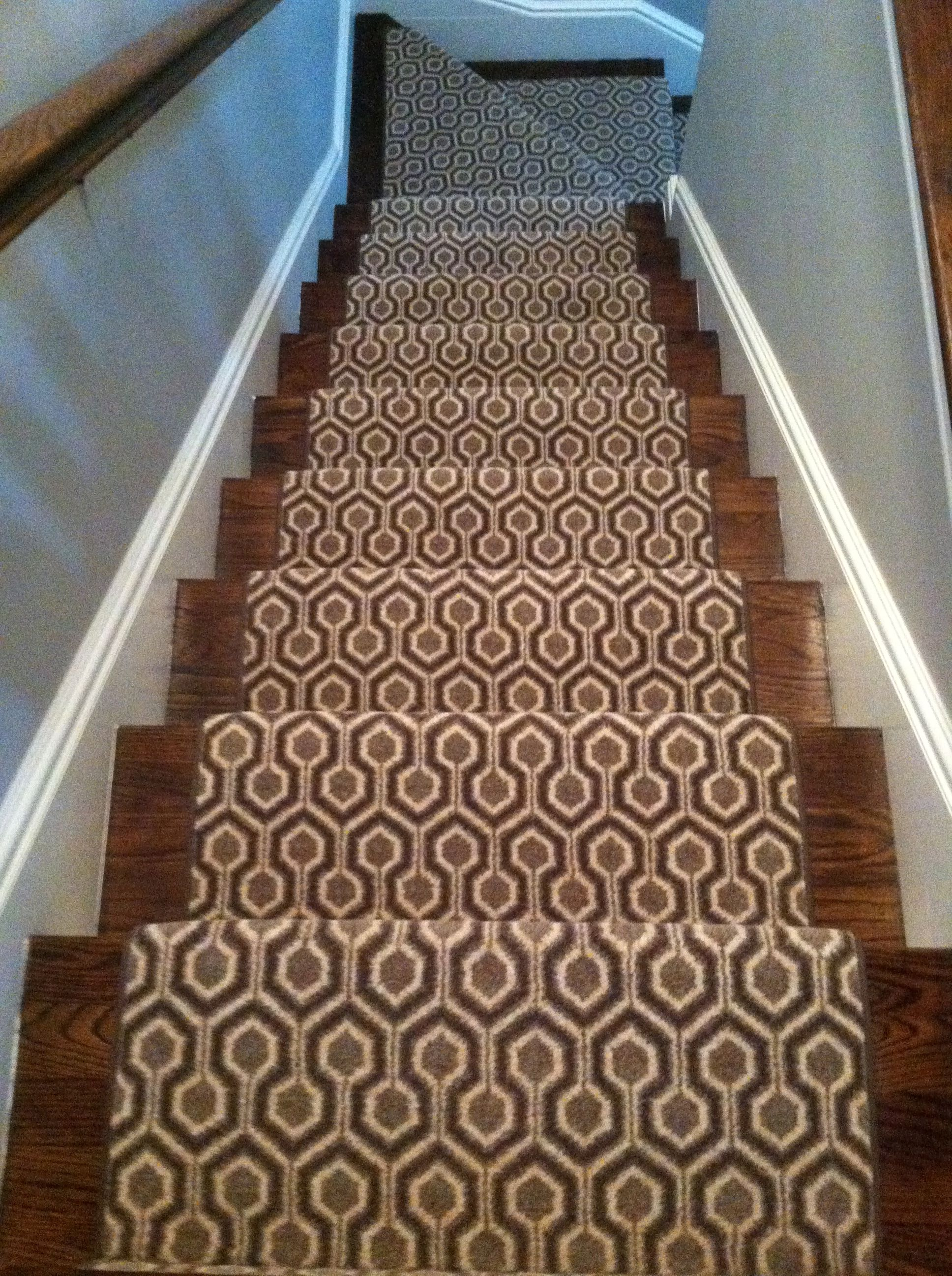 This Woven Wool Carpet Remnant Was Fabricated Into A Custom Stair Runner.