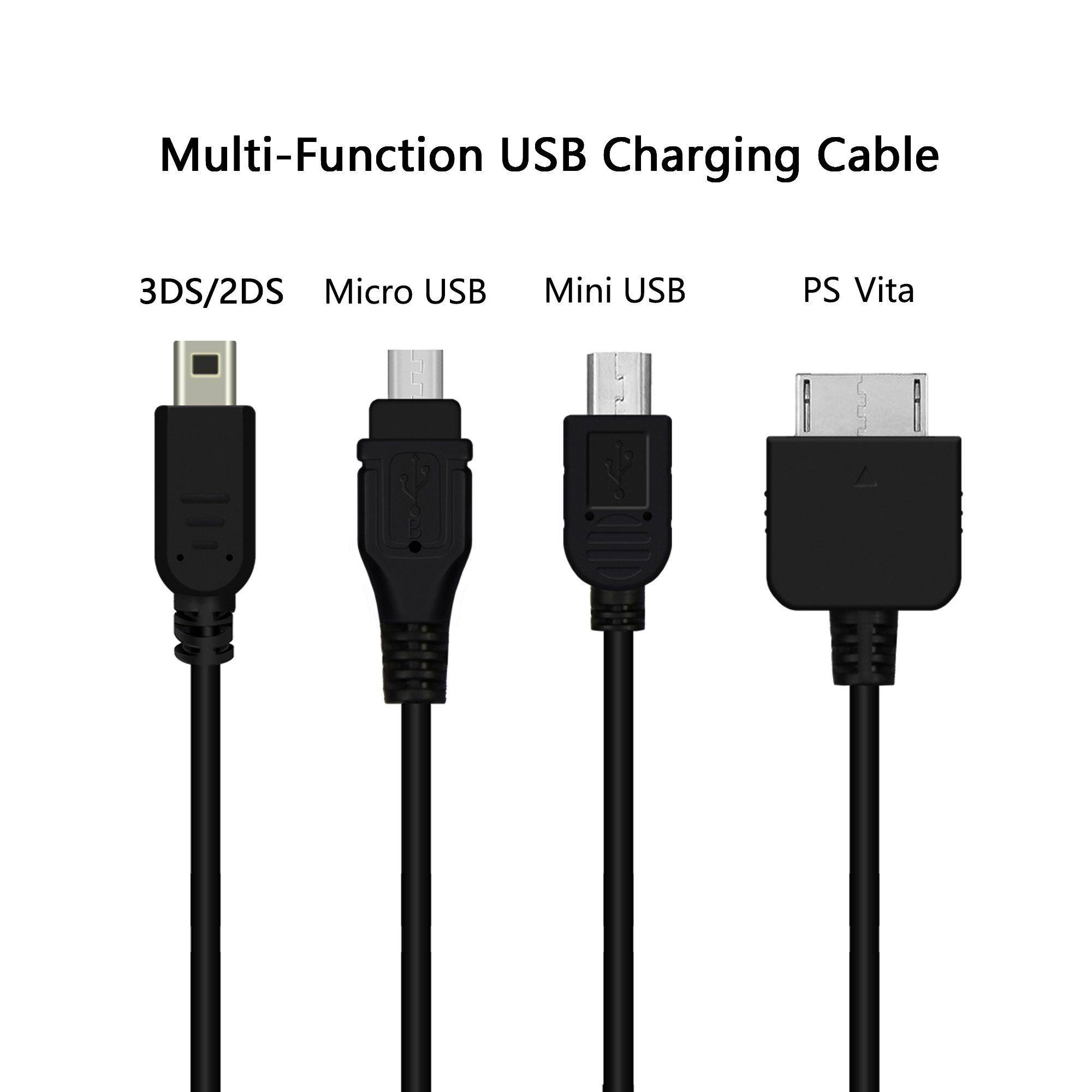 Usb Multi Charger Cable 3 8ft For Ps Vita Nintendo New 2ds Xl 3ds 2ds Dsi Xl Multiple Charging Cord With Micr Multi Charger Micro Usb Xbox One Controller