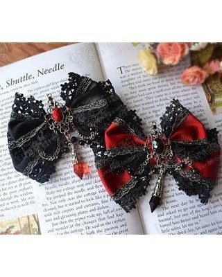 Gothic Beads Bows Lolita Hairpin $11.99-Lolita Headbows - My Lolita Dress