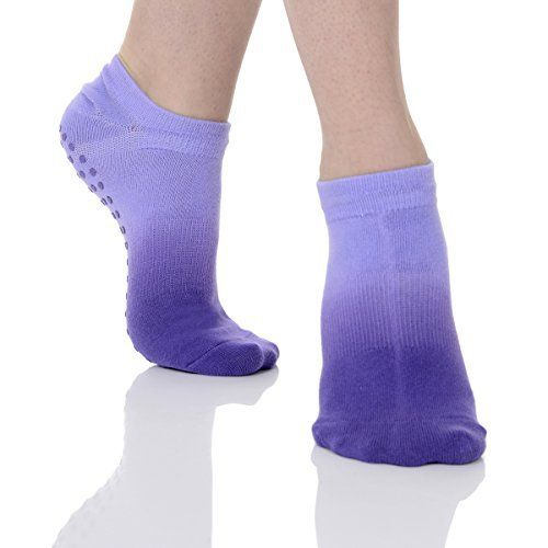 Great Soles Women's Ombre Dyed Grip Socks for Pilates, Yoga, and Barre (One Size - Violet) - http://www.exercisejoy.com/great-soles-womens-ombre-dyed-grip-socks-for-pilates-yoga-and-barre-one-size-violet/pilates/