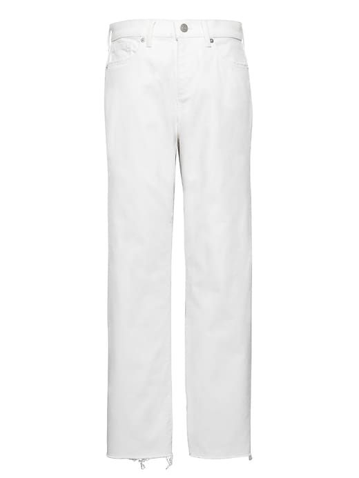 58a253ec038af Banana Republic Womens Girlfriend Stain-Resistant Cropped Jean With Fray  Hem White