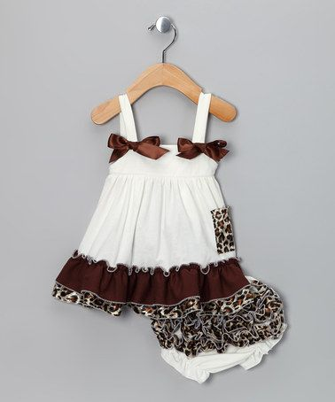 Take a look at this Ivory Cheetah Ruffle Swing Top & Diaper Cover - Infant by Royal Gem Clothing on #zulily today!