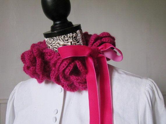 Crocheted Cyclamen Pink Cowl Choker Neckwarmer by JoieLaVieBien