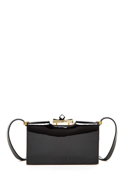 Tally Patent Crystal Bow Leather Crossbody Wallet