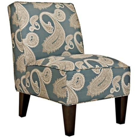 Best Angelo Home Dover French Blue Paisley Accent Chair With 400 x 300