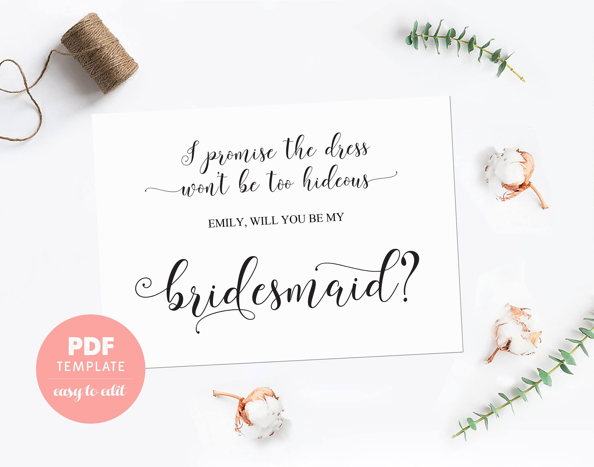 Bridesmaid Card Pdf Template Made Of Honor Proposal Editable For Instant