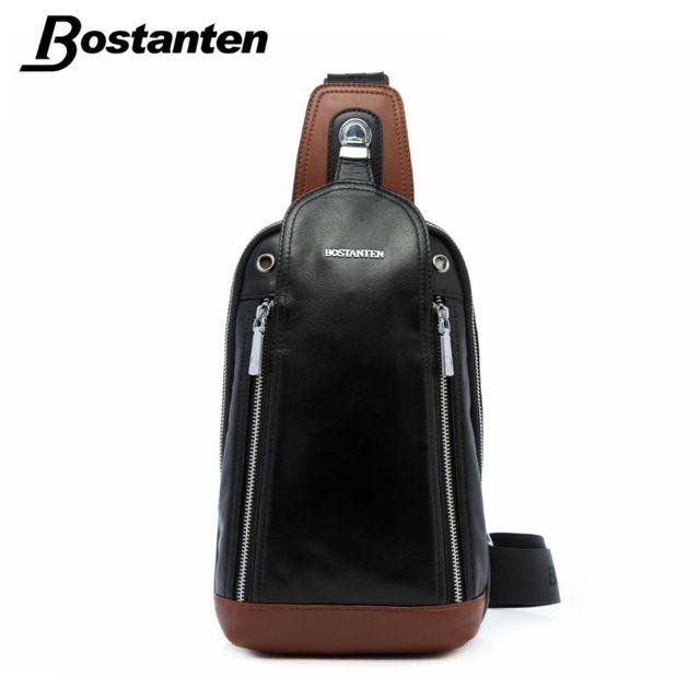 4f660f245f31 Bostanten Patchwork Tide Men's Genuine leather Chest Bag Back Pack ...