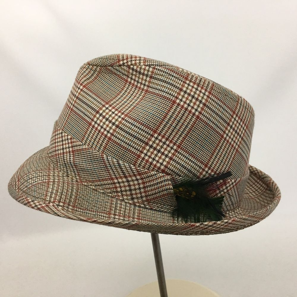 6e522913 Vintage Men's Trilby Fedora Hat Brown Tan Rust Plaid Size 7 1/2 Front Brim  2